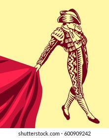 Bullfight, matador. Hand drawn vector isolated illustration of toreador.