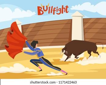 Bullfighting background. Spain traditional performance with matador and bull. Dance of the death. Bull and matador, spanish toreador, corrida bullfight, vector illustration