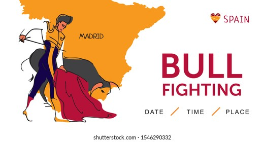 Bullfighting poster with Matador and bull drawn by hand on the background of the map of Spain. Spanish traditional entertainment. Banner for travel in Spain. Cute cartton Vector illustration