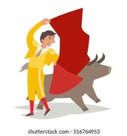 Bullfighting vector illustration. Toreador man in red cape. Traditional spainish corrida. Matador and bull. Isolated on white background, cartoon style