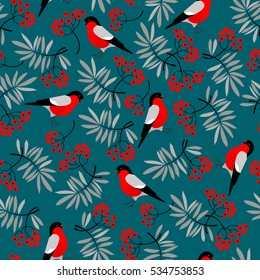Bullfinch birds seamless pattern with Mountain ash leaves and berries. Merry Christmas collection background. Natural winter texture. Vector illustration.