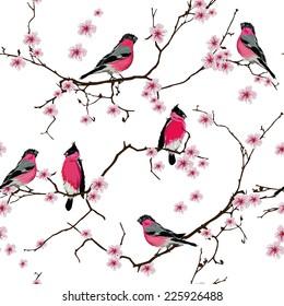Bullfinches on the sakura branch seamless vector pattern, EPS10 file