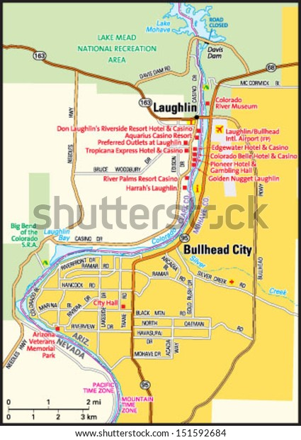 Map Of Arizona Bullhead City.Bullhead City Arizona Area Map Stock Vector Royalty Free 151592684