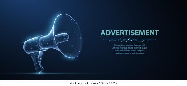Bullhorn. Abstract vector 3d megaphone on blue background. Communication, announcement message, shout speech, warning alert concept. Promotion advertisement, marketing, propaganda information symbol.