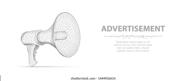 Bullhorn. Abstract vector 3d megaphone isolated on white background. Communication, announcement message, shout speech, warning alert concept. Promotion advertisement, marketing information symbol.
