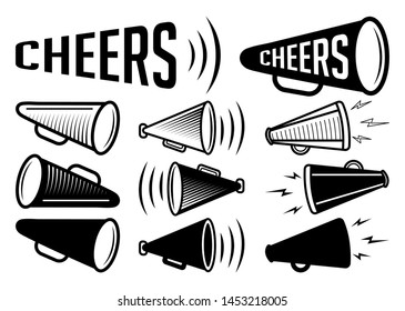 Bullhorn Icon |  Cheers Megaphone Bundle Vector Illustration Silhouette