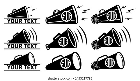 Bullhorn Icon |  Cheers Megaphone Monogram Bundle Vector Illustration Silhouette