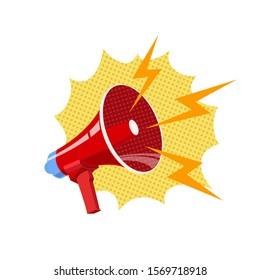 Bullhorn, red megaphone vector illustration in pop art style