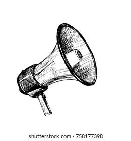 The bullhorn sketch. Vector hand drawn illustration.