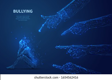 Bulling. Young woman in depression seats on floor and big hands touching on her. Low poly wireframe digital vector illustration. Teenage problem or internet bullying  concept. Polygons, lines and dots