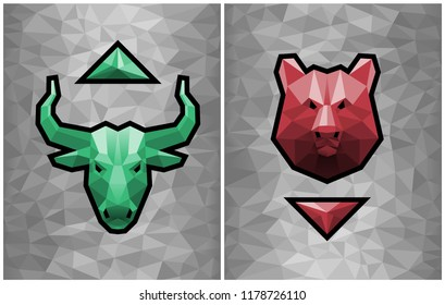 Bullish And Bearish Trends. Two graphic emblems of a bull's and a bear's heads formed from polygonal pattern together with trending arrows on gray polygonal background.