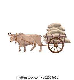 Bullock cart on white background. Vector illustration