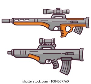 Bullpup firearms sniper rifle.Weapons guns.Set submachine gun modern assault.Flat style line an art a vector on a white background the isolated object.