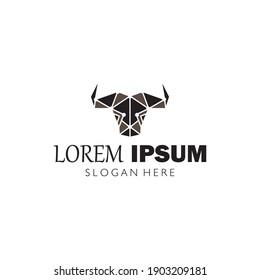 bulls head logo vector icon illustration design template