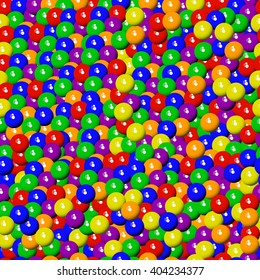Bull's-eye candies. Seamless texture. Colorful background of assorted candies, bubble gum, sweet balls.