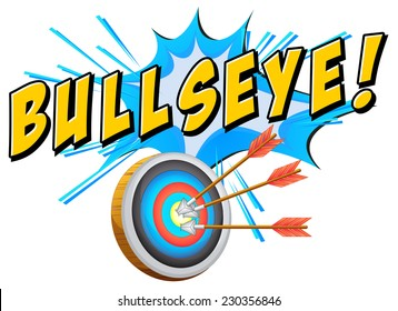 Bullseye text with target and arrows