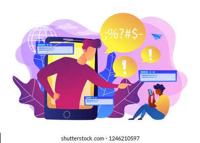 Bully in smartphone harassing, threatening and intimidating upset victim online. Cyberbullying, online flooding, social network harassment concept. Bright vibrant violet vector isolated illustration