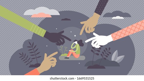 Bullying attack concept, flat tiny person vector illustration. Aggression and humiliation victim with pointing fingers symbolism. Social violence problem. School or workplace verbal or physical abuse.