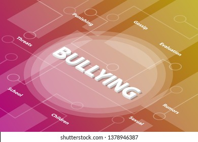 bullying bully words isometric 3d word text concept with some related text and dot connected - vector illustration