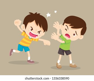 bullying children.angry boy Rampage hitting him friend.Little angry boy shouting and hitting.Quarreling kids.Rampage children.