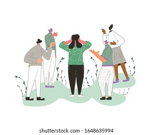 Bullying concept. Concussed person surrounded people blaming her. Scared person putting his hands over his ears and other characters yelling and pointing finger. Vector flat color illustration.