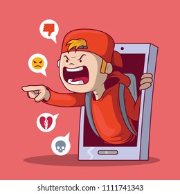 Bullying kid concept illustration. Bully, technology, communication, security design concept