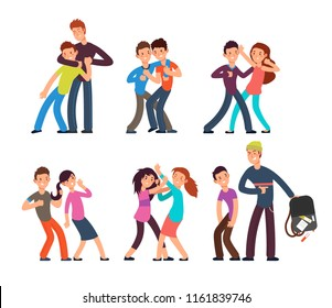 Bullying kids. Stop school bully. Aggressive and sad children. Cartoon fighting teenagers vector characters set. Illustration of behavior and harassment, conflict people