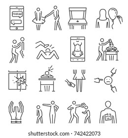 Bullying line icon set. Aggressive behavior, use of force, threat, coercion to abuse, words and actions to cause person injury or discomfort. Vector line art illustration isolated on white background