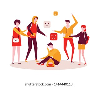 Bullying - modern colorful flat design style illustration on white background. A composition with a sad boy feeling ashamed, a group of teenagers mocking him. Psychological problems at school concept