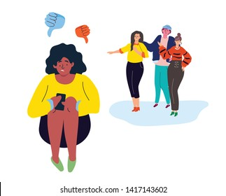 Bullying - modern colorful flat design style illustration on white background. A sad girl sitting alone with a smartphone, feeling ashamed, a group of teenagers mocking her. Problems at school