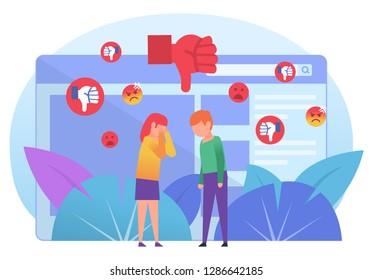 Bullying, trolling online in chat, messenger. Bad reviews, comments, dislike. Poster for social media, web page, banner, presentation. Flat design vector illustration