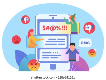 Bullying, trolling online in phone chat, messenger. People quarreling in phone chat. Poster for social media, web page, banner, presentation. Flat design vector illustration