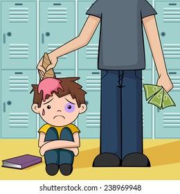 Bullying, vector illustration, school lockers background