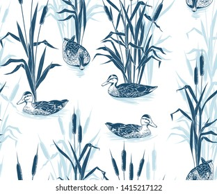 Bulrushes and wild ducks. Hand drawn monochrome seamless pattern on a white background. Vector vintage illustration .