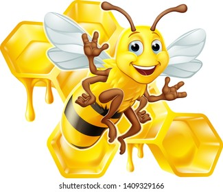 A bumble bee cartoon character with a honey dripping bumblebee comb hive honeycomb in the background