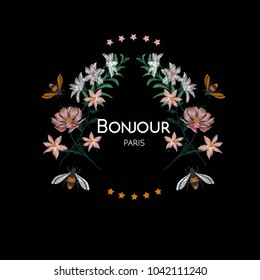 Bumble Bee and flower with wording bonjour paris embroidery vector design, vintage fashion on black background.