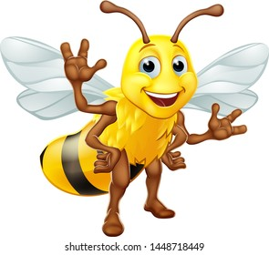 A bumble bee or honey bumblebee cartoon character insect standing and waving
