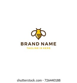 bumble bee honey hive logo template vector illustration