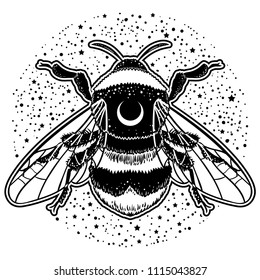 Bumblebee Hand drawn vector illustration. Tattoo art sketch of bee, mystical and esoteric symbols.