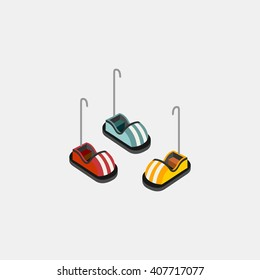 bump car amusements park isometric design. abstract isolated vector illustration.