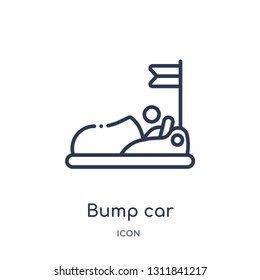 bump car icon from other outline collection. Thin line bump car icon isolated on white background.