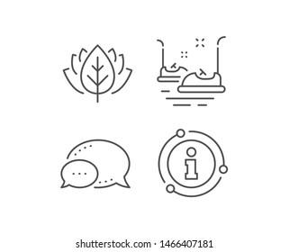Bumper cars line icon. Chat bubble, info sign elements. Amusement park sign. Linear bumper cars outline icon. Information bubble. Vector