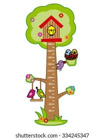 Bumper children meter wall. Tree and birds.