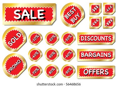 A bumper collection of promotional stickers in red and gold. EPS 10 vector