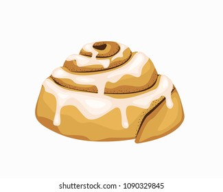 Bun art. Illustration of a bun with cinnamon. Baking isolated. Vector object