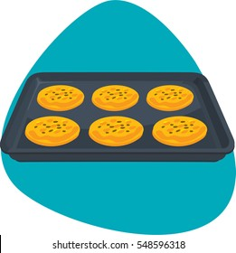Bun sheet pan with cookies. Isolated. On green background.