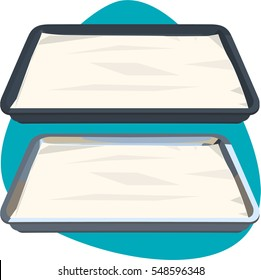 Bun sheet pan with parchment paper. Isolated. On green background.