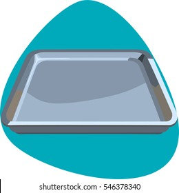 Bun sheet pan. Tool for baking pastry, cookies, cakes and other food in oven. Isolated. On aquamarine background.