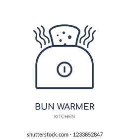 bun warmer icon. bun warmer linear symbol design from Kitchen collection. Simple outline element vector illustration on white background