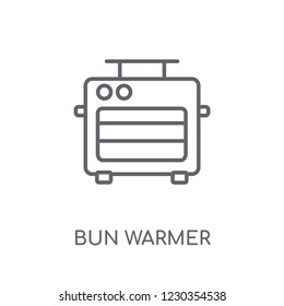 bun warmer linear icon. Modern outline bun warmer logo concept on white background from kitchen collection. Suitable for use on web apps, mobile apps and print media.